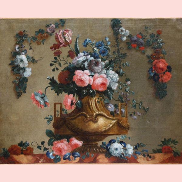 Un rigoglioso vaso di fiori, luminoso dipinto ad olio su tela del ...