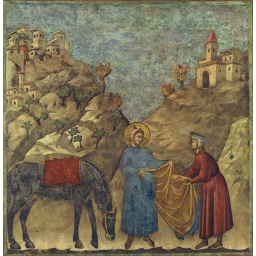 Risultati immagini per san francesco e il dono del mantello